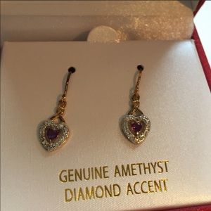 18KT Gold (over silver) Amethyst Heart Earrings